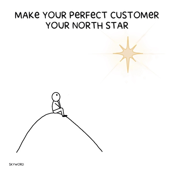 person sitting on a hill looking at north star