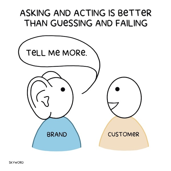 person with large ears asking a customer to tell them more