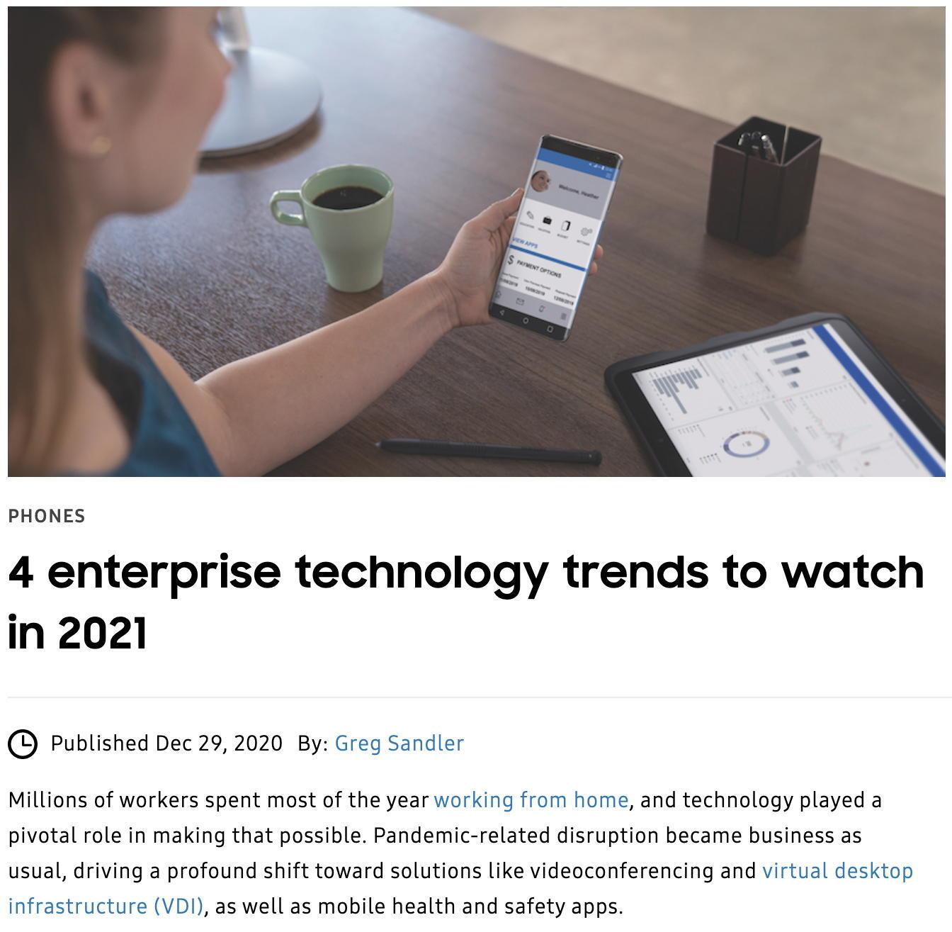 Screenshot of Samsung Business Insights article,