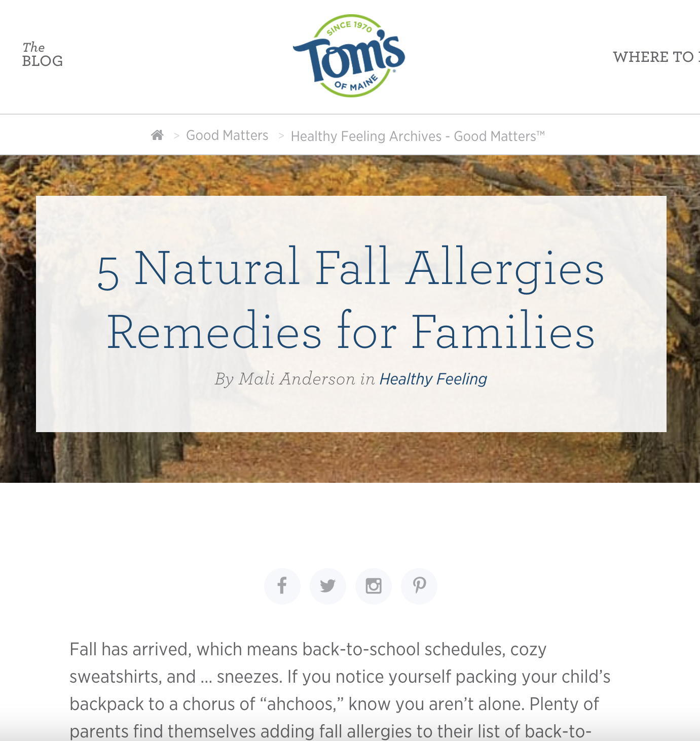 Screenshot of Tom's of Maine blog post: 5 Natural Fall Allergies Remedies for Families